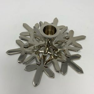 Crate & Barrel Shiny Snowflake Taper Candle Holder